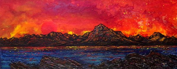 Blood Moon, Skye, Scotland - Original canvas painting and fine art prints