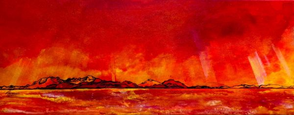 Ettrick Bay, Bute - Arran Dusk - An original canvas painting & prints