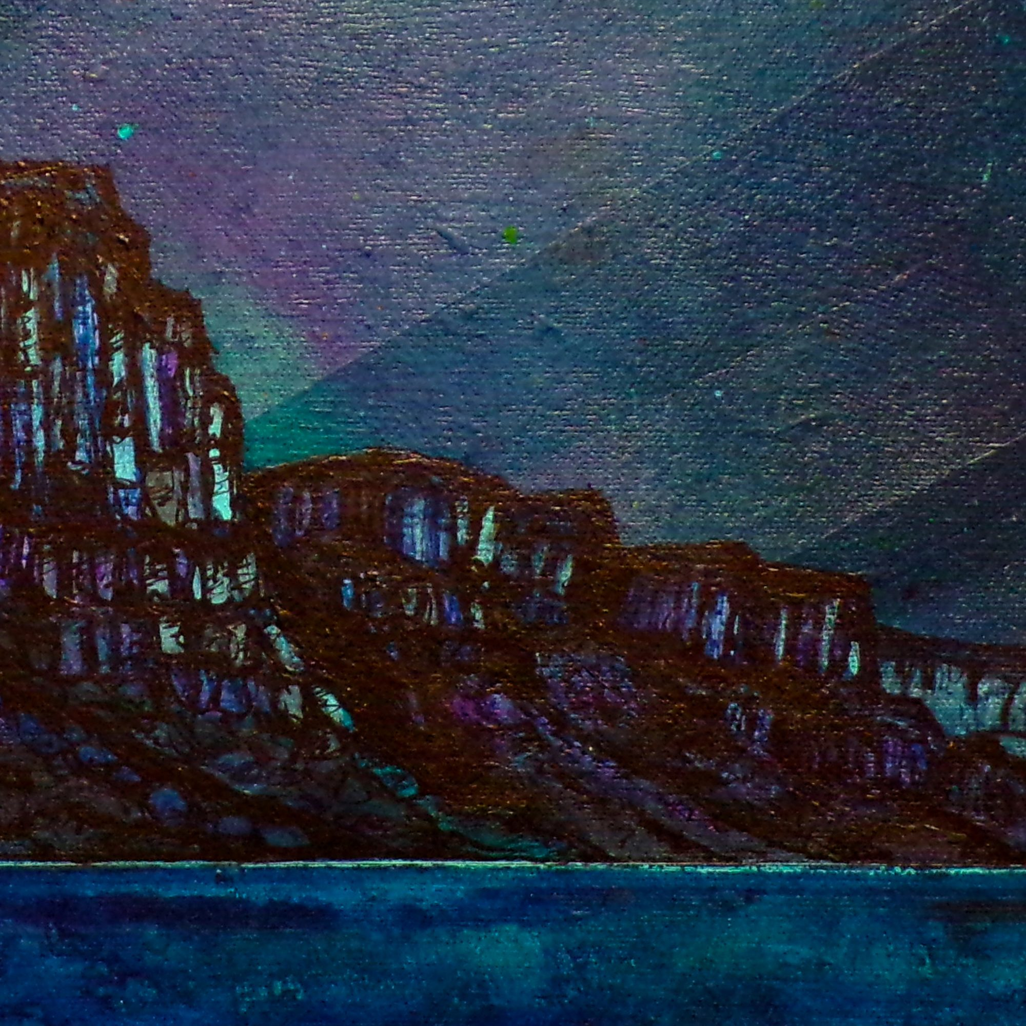 Kilt Rock, Skye - Seascape Painting by Scottish artist A Peutherer - Closeup