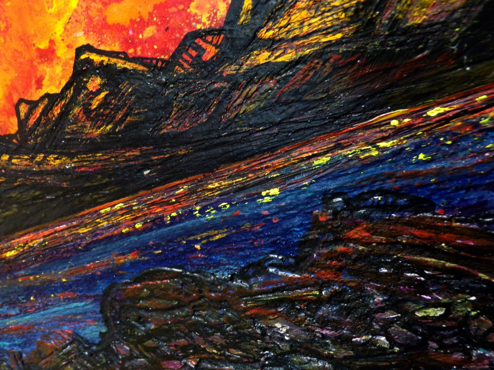 Canvas painting of Skye, Scotland. Detail image 2 showing the deep edge canvas