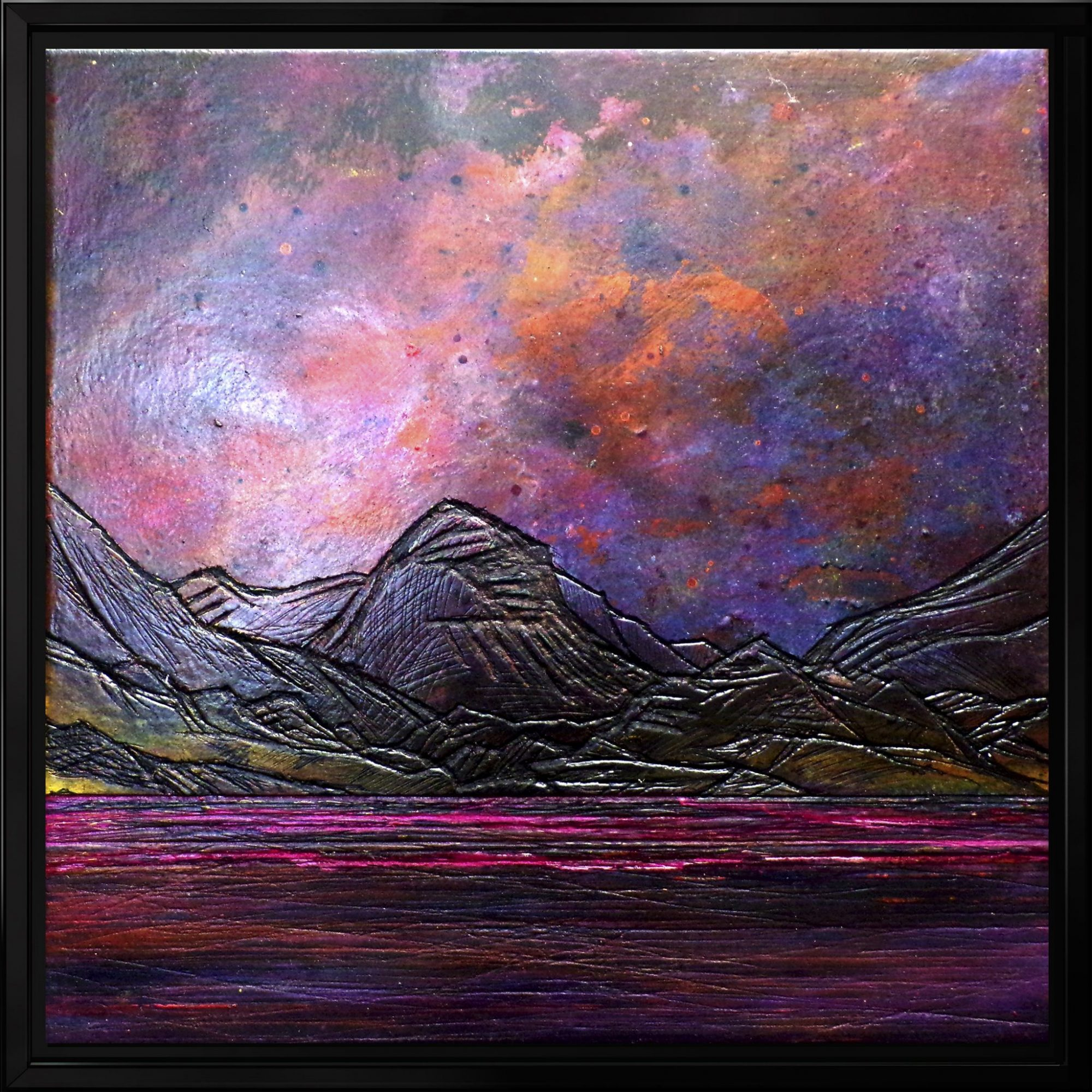 Framed canvas painting and prints of Marsco, Glen Sligachan, Skye by artist Andy Peutherer