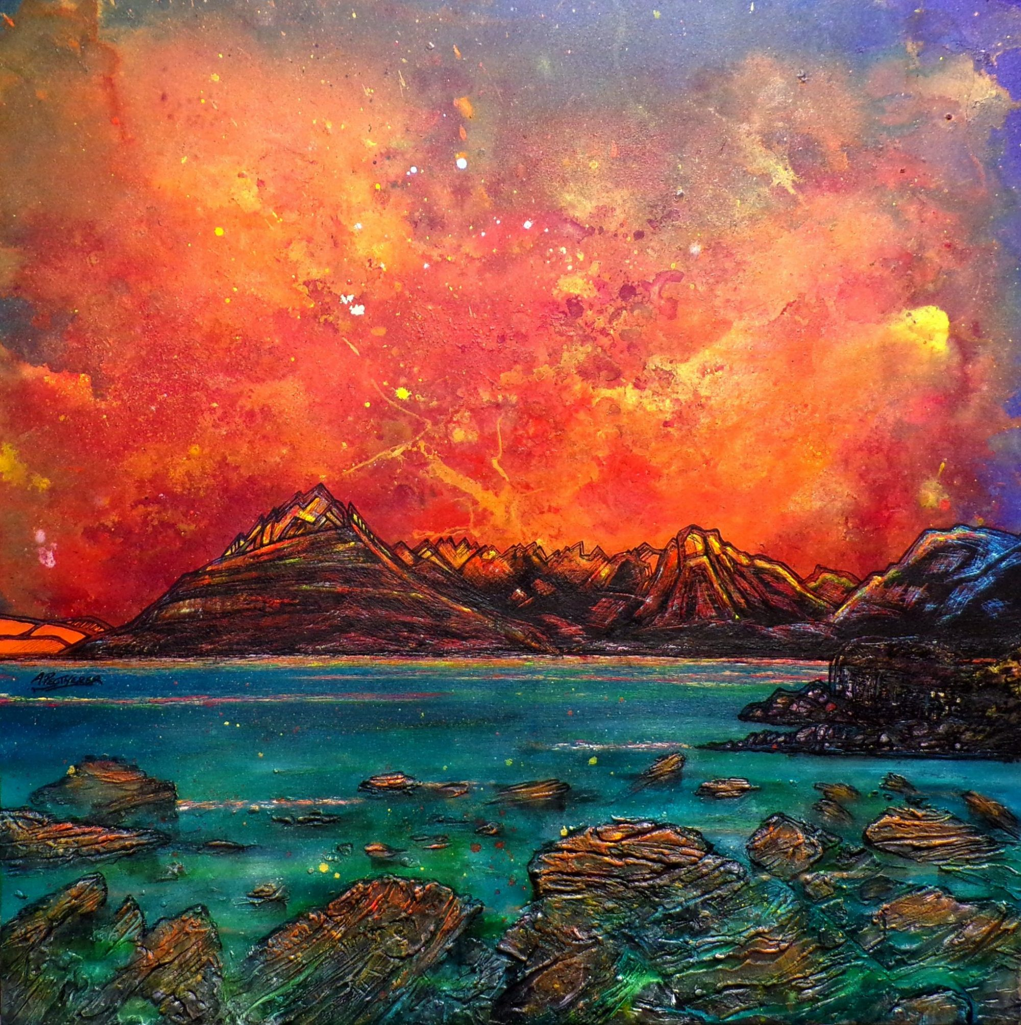 Skye, The Cuillin from Elgol - Canvas painting and prints by A Peutherer