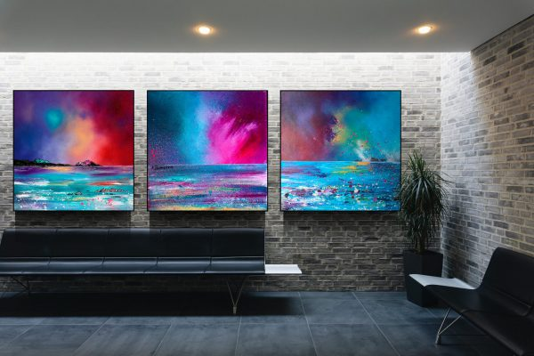 Block mounted prints of Arran, Eriskay and Mull. XX Large size - Square shaped