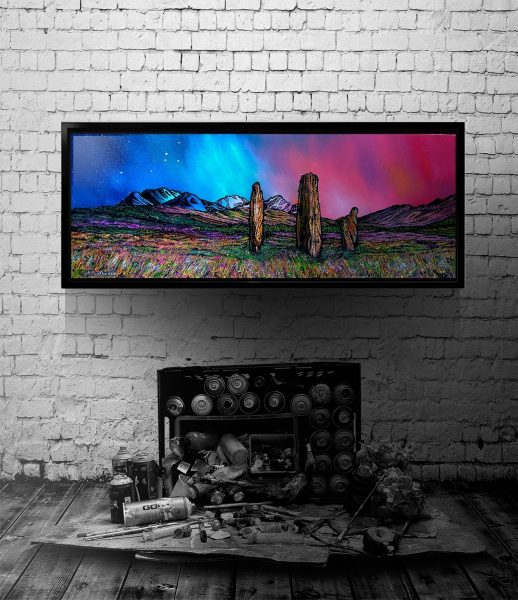 Machrie Moor Standing Stones, Arran - Canvas print with floating black frame