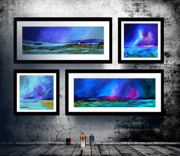 Framed Prints of Barra, Iona, Harris. and Mull. Scottish landscape paintings by A Peutherer
