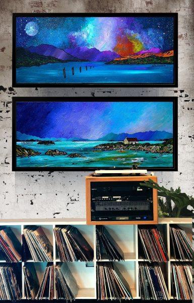 Framed canvas prints of Barra & Loch lomond from an original Scottish landscape painting