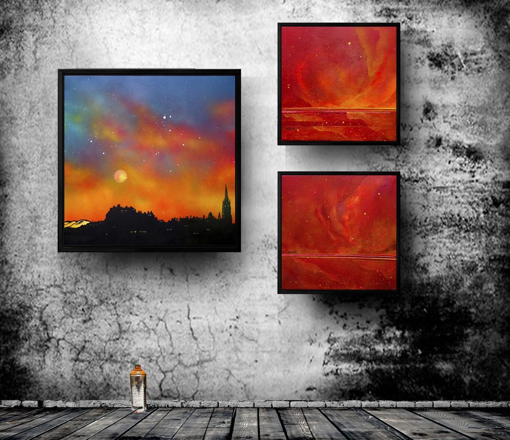 Edinburgh and Skye canvas prints in floating black frames