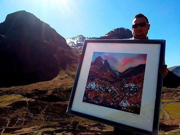 Elements of Glencoe, Scottish Highlands - 1 meter square framed print.