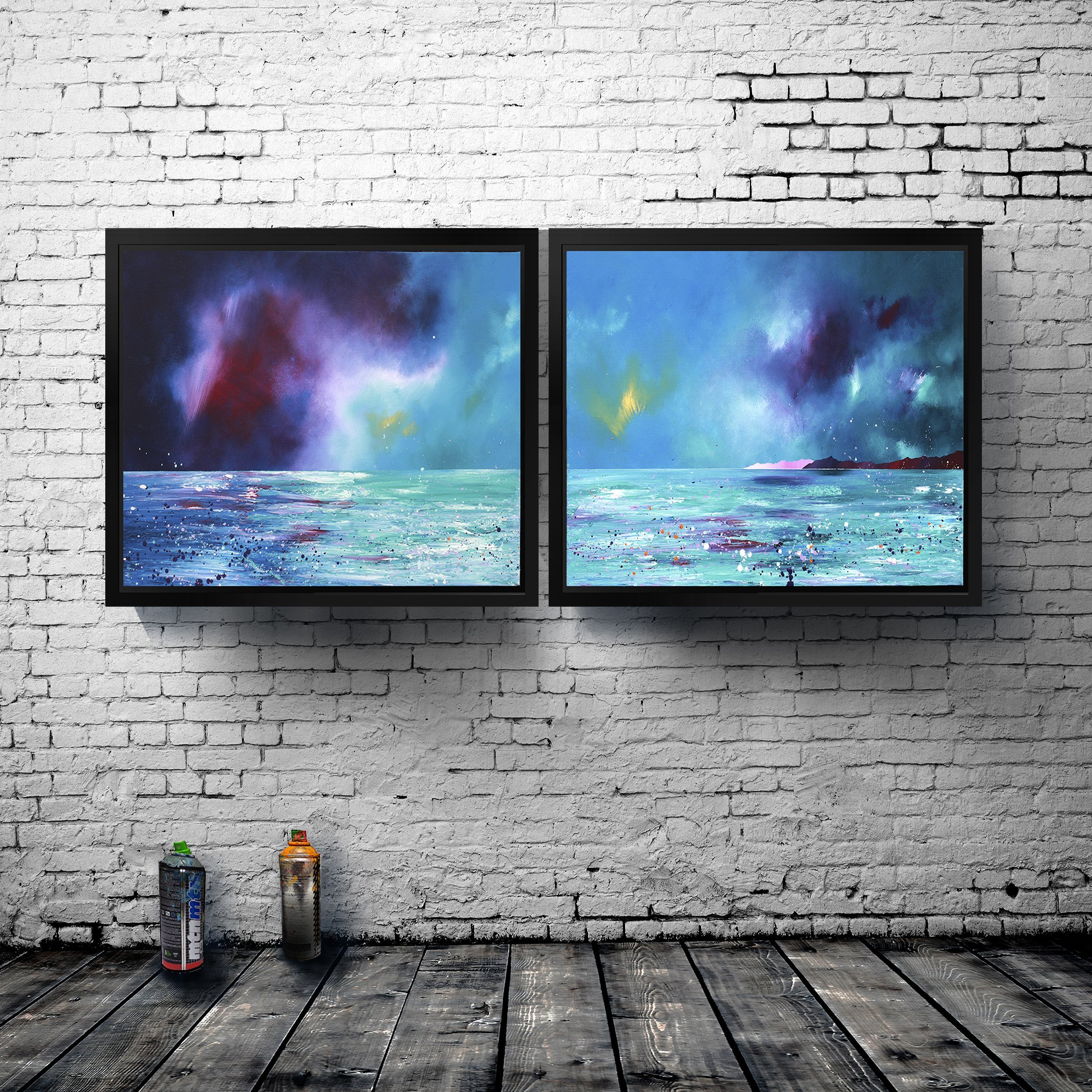 Commission abstract landscape painting of Mull - Double canvas presentation
