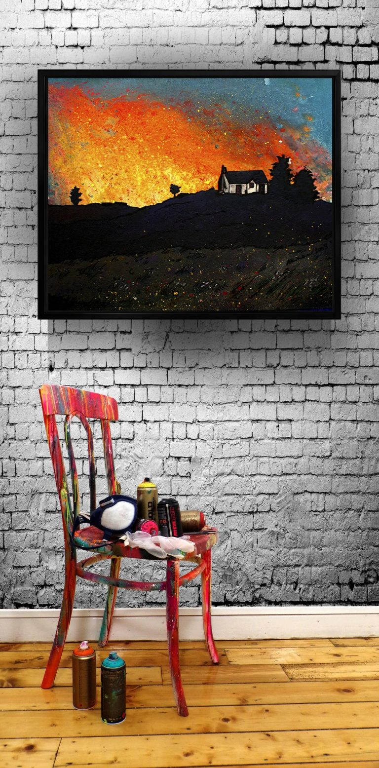 Isle of Skye Croft House - canvas print of a commissioned painting i floating frame
