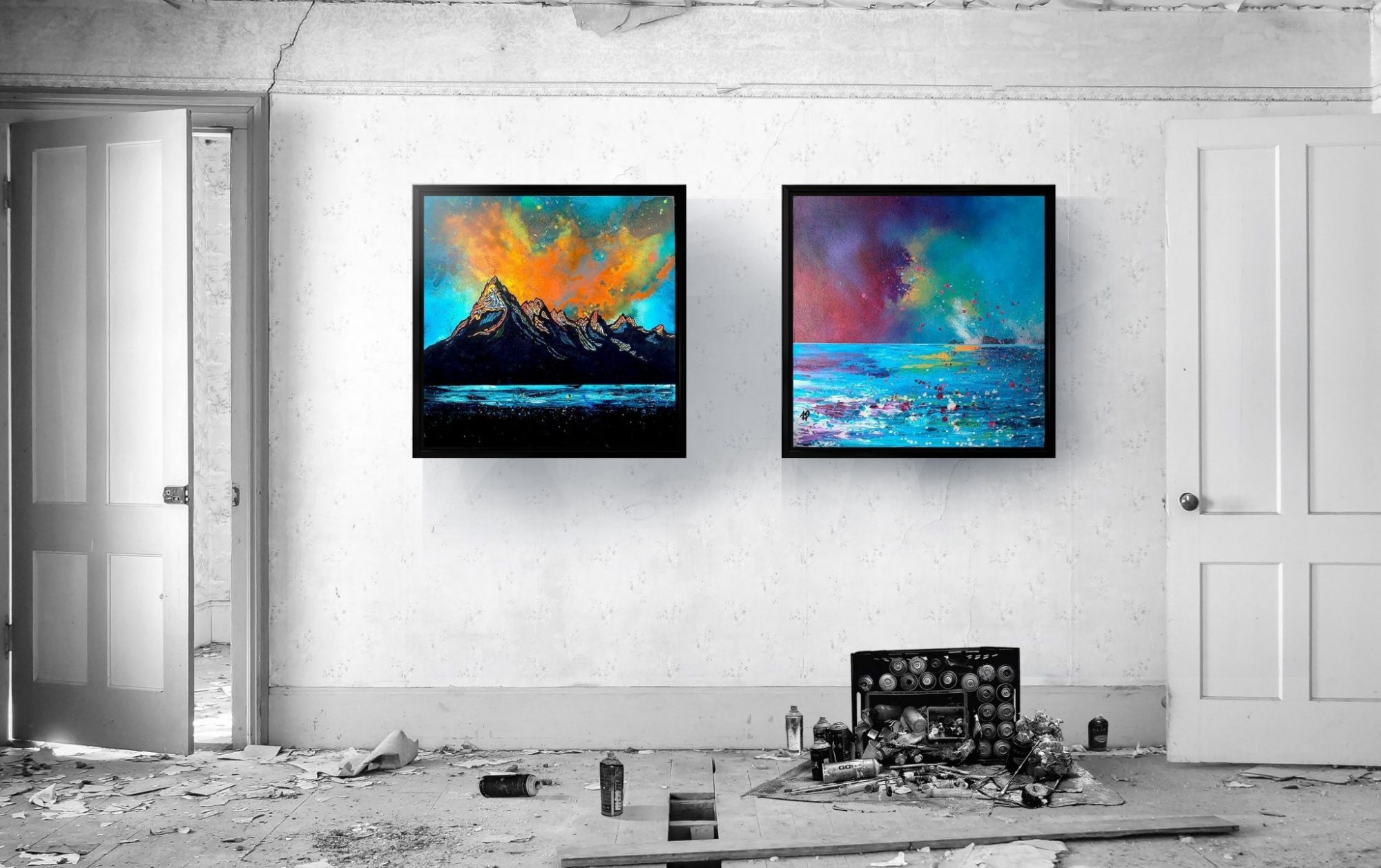 Skye and Mull canvas prints in floating frames at 1 meter square