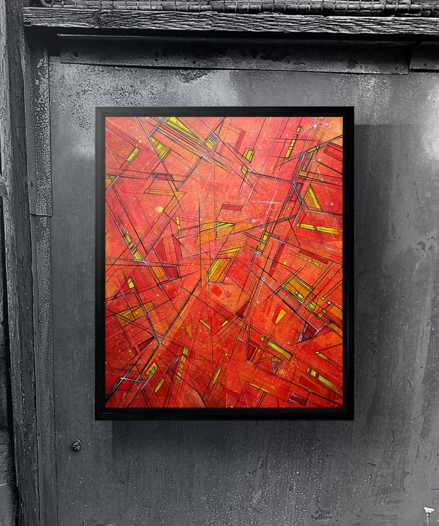 Sloth Metropolis - Original abstract painting on board - framed in black floating / tray style