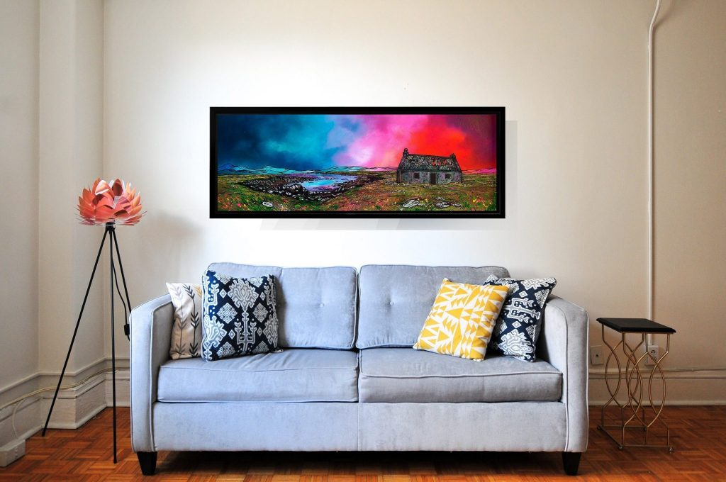 South Uist crost, Hebrides, Scotland - Custom sized canvas print in floating frame