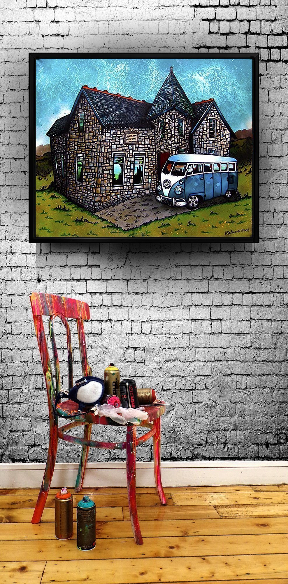 VW Camper Van - canvas print of a commissioned painting i floating frame
