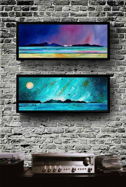 Rum & Eigg paintings as framed canvas prints
