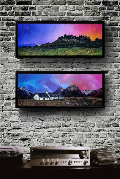 Stirling Castle & Glencoe framed canvas prints of Scottishl andscape paintins by Andy Peutherer