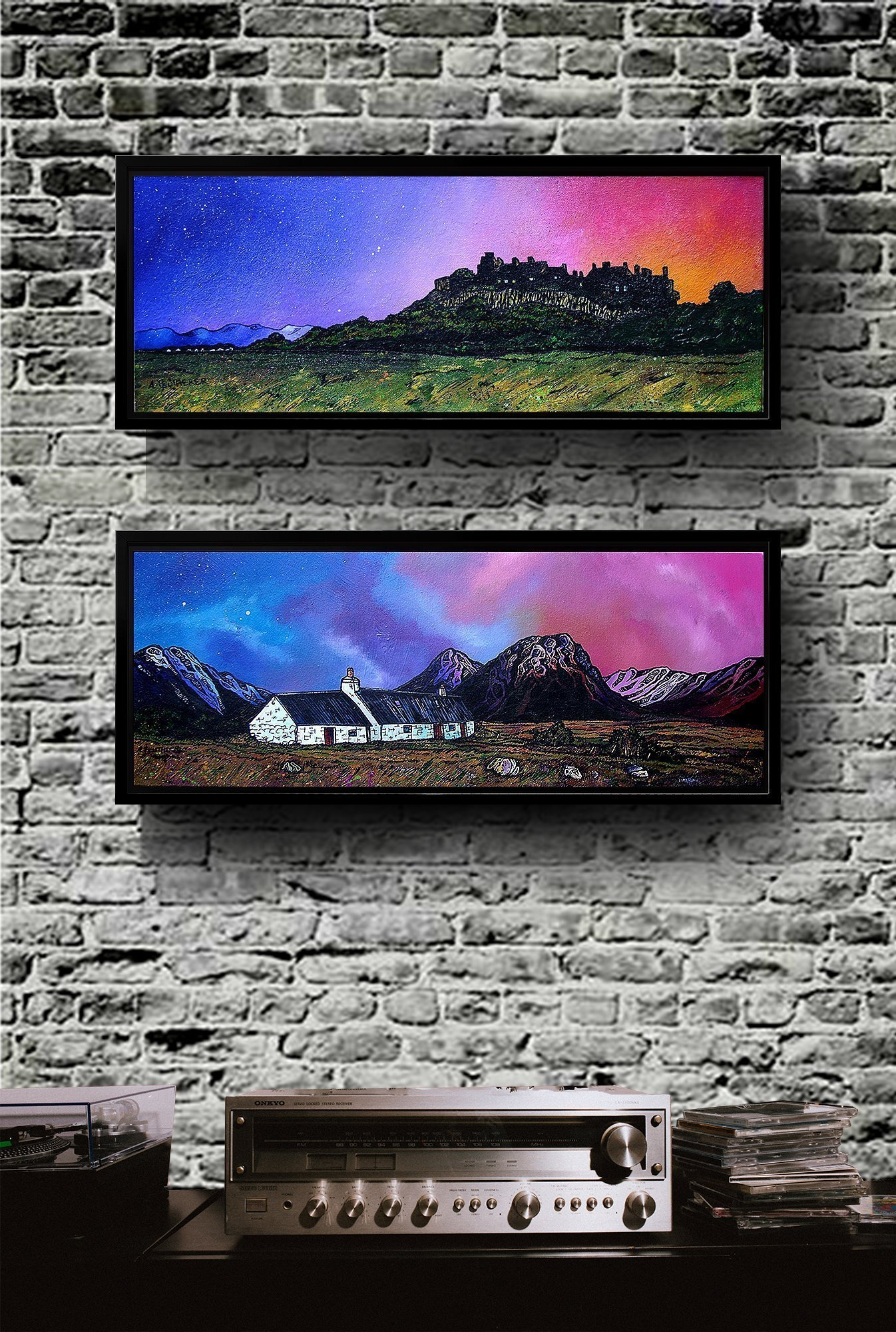 Glencoe & Stirling Castle framed canvas prints of Scottishl landscape paintins by Andy Peutherer