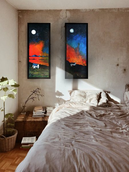 Hebridean Croft House paintings as framed canvas prints - from original Scottish landscape paintings