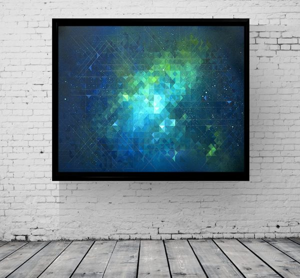 Nebula 2 - Abstract art canvas print in floating black frame