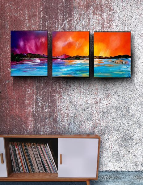 Luss, Loch Lomond - Canvas print triptych from painting by A Peutherer