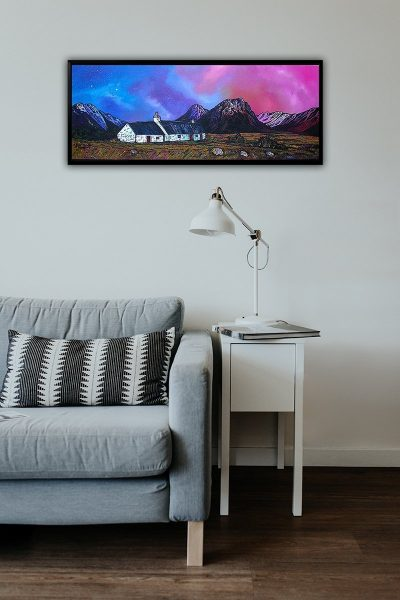 Glencoe - Framed fine art canvas print - Scottish landscape painting by A Peutherer