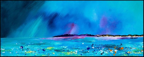 Tiree Beach - Block print of original painting by artist A Peutherer