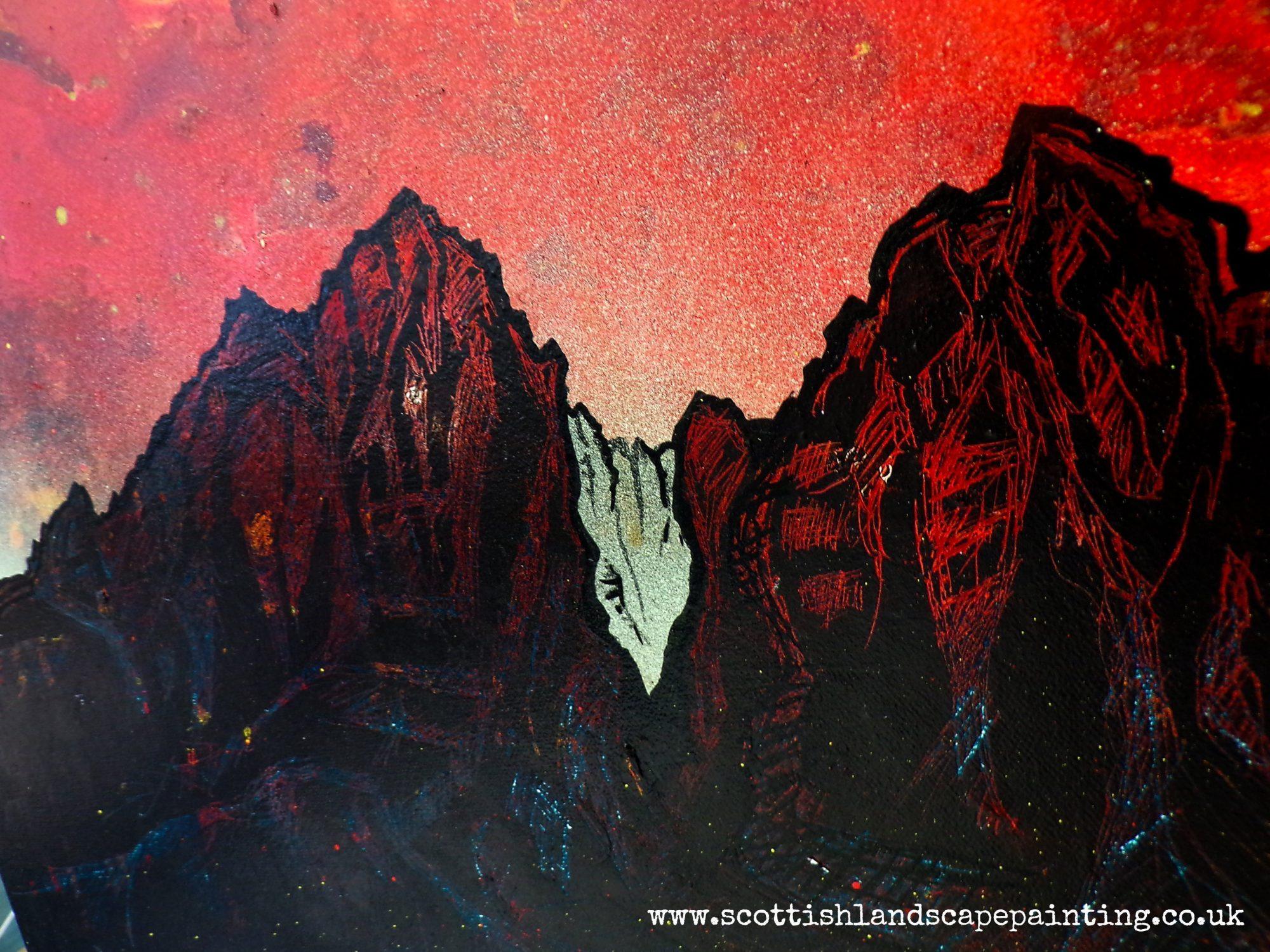 Blaven - Bla Bheinn - painting detail 3 by Scottish artist A Peutherer