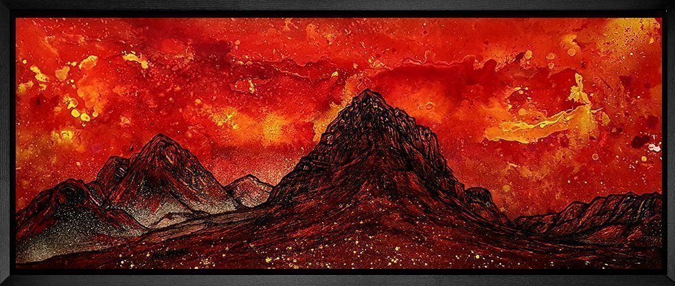 Framed painting of Glencoe, Buachaille & Rannoch Moor by Scottish artist Andy Peutherer