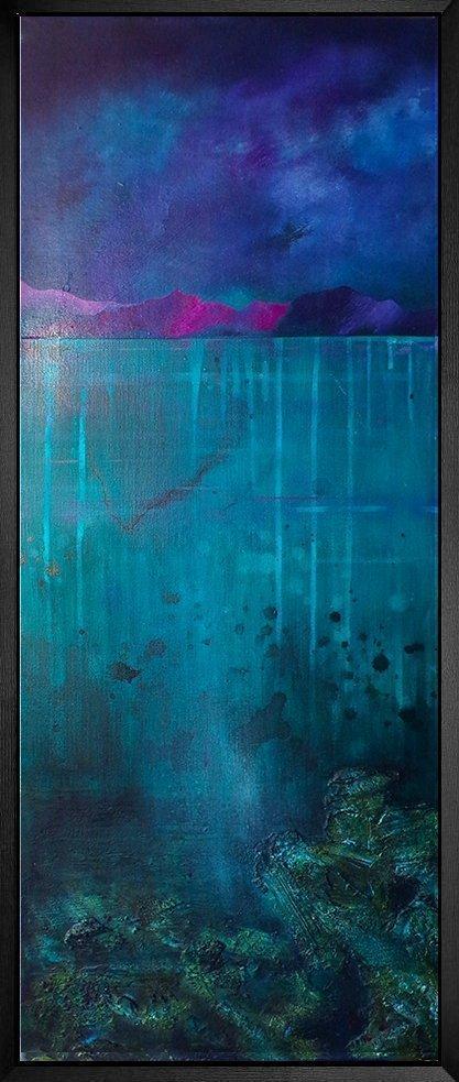 Coral Beach, Skye - Original painting In Floating Black Frame