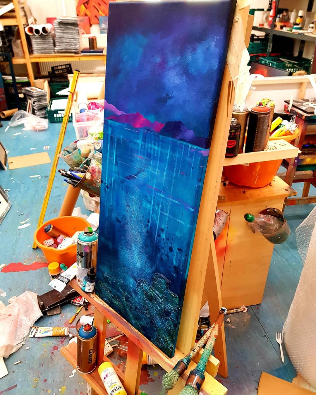 Coral Beach, Skye - Original painting In the studio 3
