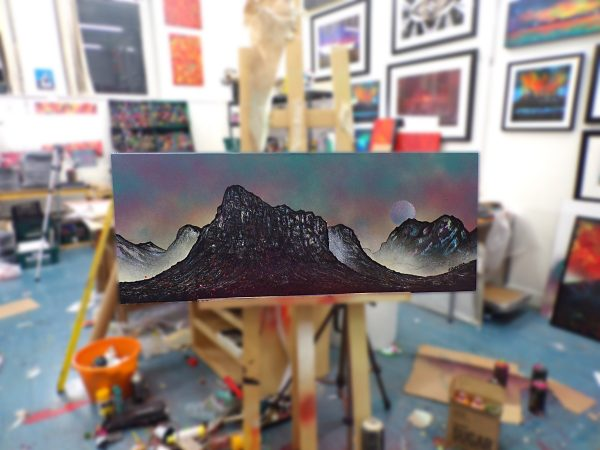 Painting of Glencoe & The Buachaille - In progress in the art studio