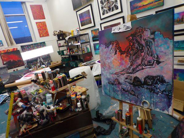 Painting of The Cobbler, Arrochar, Scotland - In progress in the artists studio