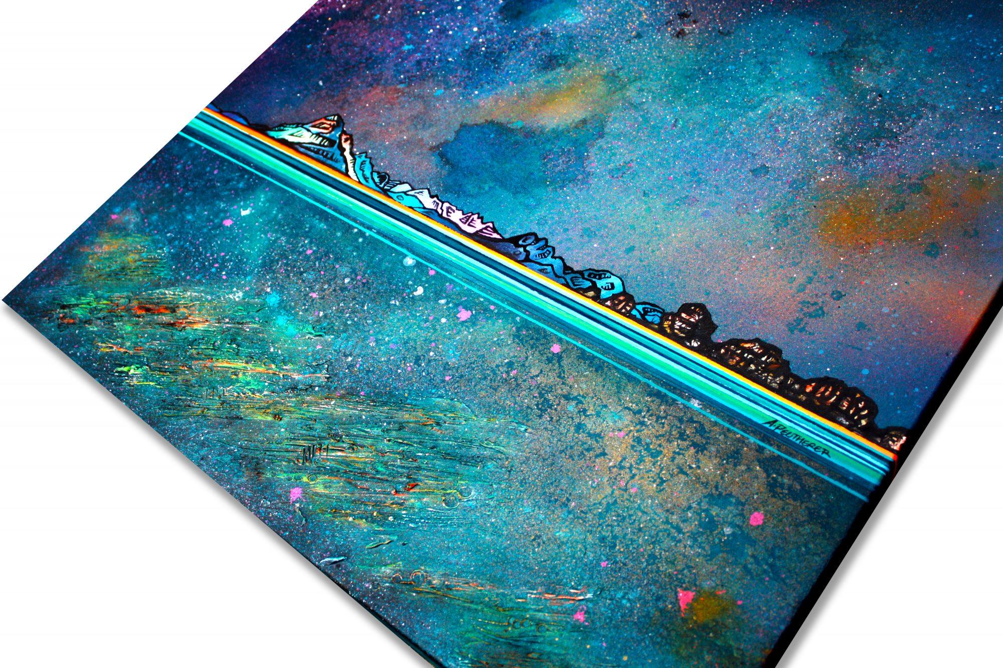 Skye Glow, Scotland - Original canvas painting detail & art prints - Canvas detail