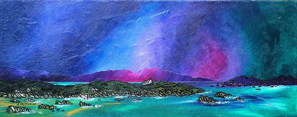 Mull from Iona, Hebrides - Prints of an original Scottish landscape painting by artist A Peutherer by artist A Peutherer